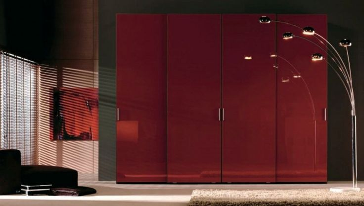 Red Wardrobe Design With Large 4 Doors Wardrobe Cabinet As Well As Black Cubby Sofas Plus White Shaggy Rugs Design Ideas: Beautify Your Room with Modern Minimalist Wardrobe Designs