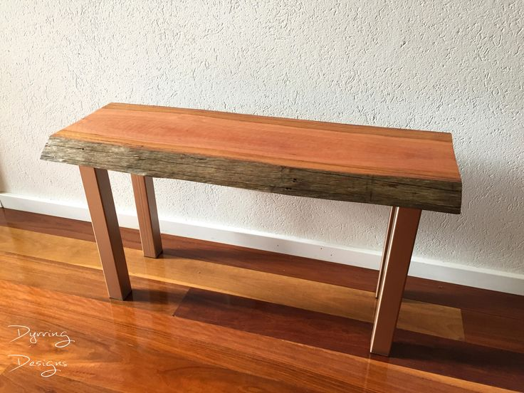 Spotted Gum and Rose Gold Metal Bench and Coffee Table by DyrringDesigns on Etsy