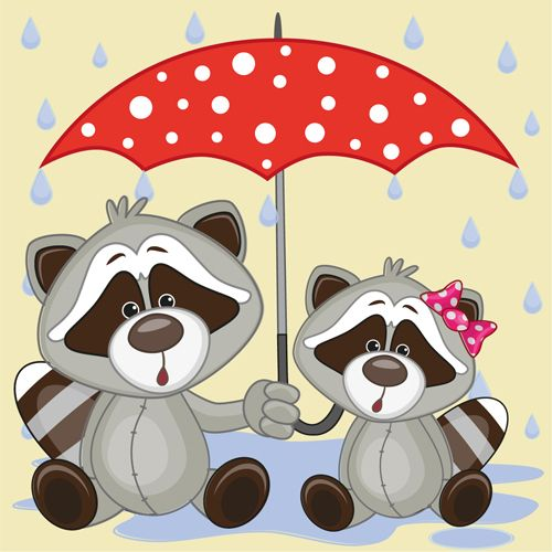 Cute animals and umbrella cartoon vector 17
