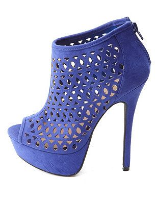 Laser Cut-Out Peep Toe Platform Heels: Charlotte Russe