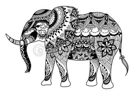 Conception d'éléphant Mandala pour cartes, de tatouage, de t shirt design, coloriages pour adulte et ainsi de suite - stock vector