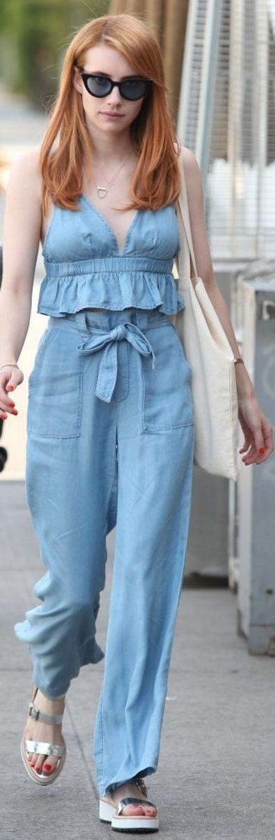 Emma Roberts: Sunglasses – Pifebo  Shirt and pants – Aerie  Purse – Bijou Karman  Shoes – Loeffler Randall  Necklace= Jennifer Meyer  Ring – Ac Jewelry