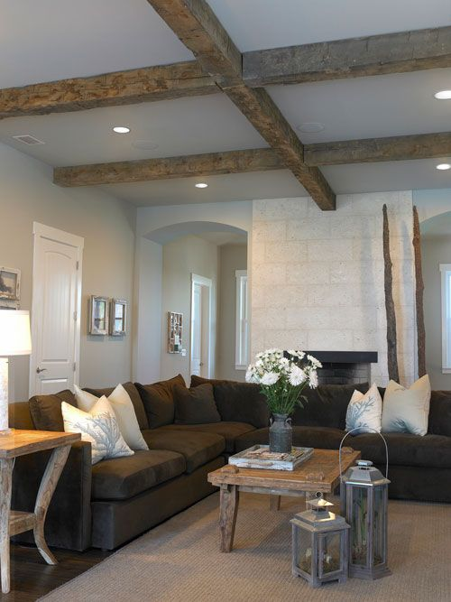 This Is What I Want To Do In My Great Room With Cathedral Ceilings Brown Couch DecorBrown Living
