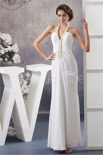 Robe de mariée pas cher gracieuse chic décoration perlée en mousseline de soie
