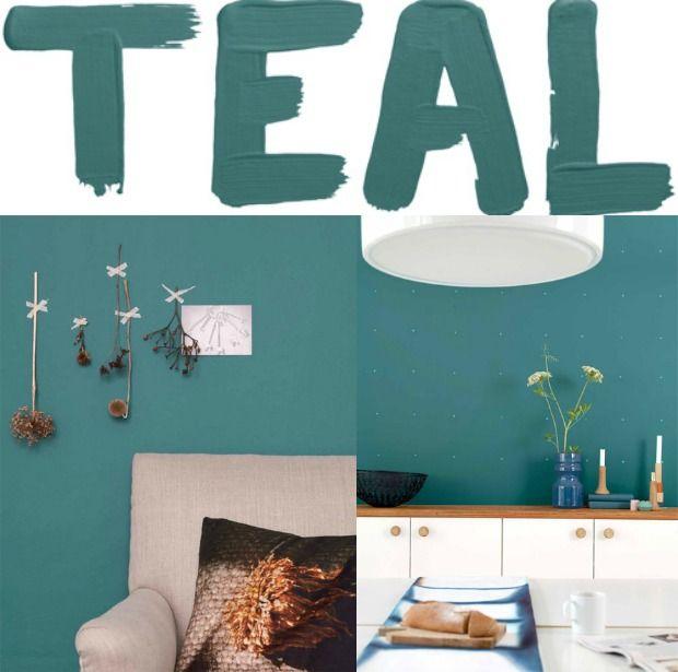 Kleur van het jaar 2014: teal. Teal is een combinatie van groen en blauw tinten en laat zich goed combineren met hout, rozetinten en okergeel.
