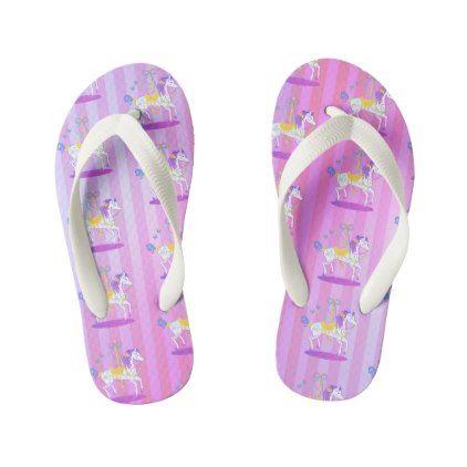 Carousel Horse girl's flip-flops Kid's Flip Flops - diy cyo customize create your own #personalize