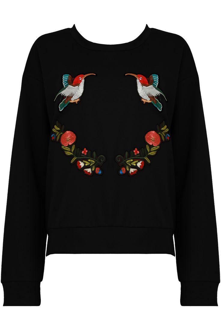 Embroidered Bird Sweatshirt