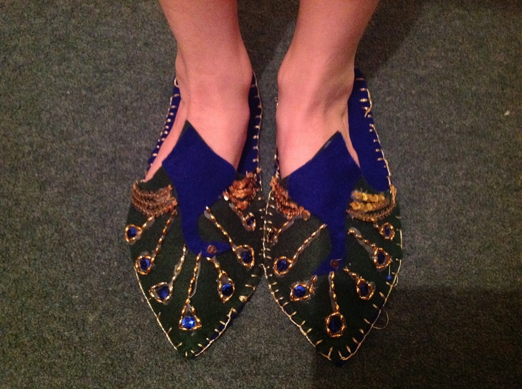 Peacock slippers made from felt and sequins.