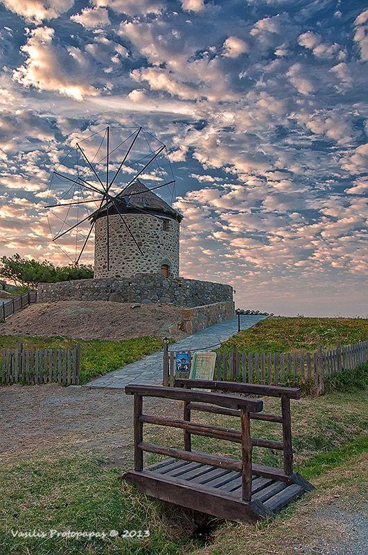 Windmill in Kontias Village, Lemnos Island, Greece *