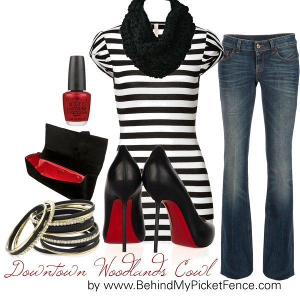 Black, White & Red ... a little dressy, a little casual, created by behindmypicketfence on Polyvore