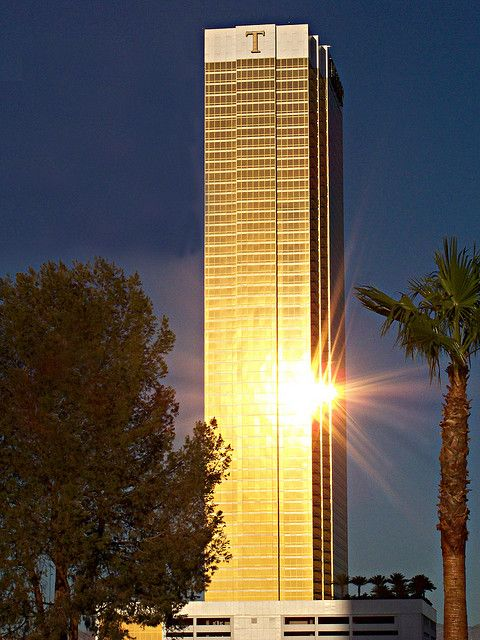 Trump tower in Las Vegas glows in the early morning sun.