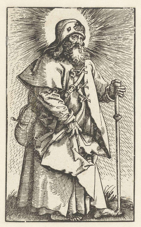 Hans Baldung Grien   Jakobus de Meerdere als pelgrim, Hans Baldung Grien, 1519   Jakobus de Meerdere gekleed als pelgrim met een mantel, een pelgrimshoed met een Sint-Jakobsschelp en over zijn schouder draagt hij een tas. Ook de pelgrimsstaf in zijn linkerhand is een kenmerkend attribuut van deze heilige.