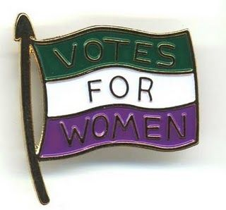 Suffragette pin in the colours of green, white and purple