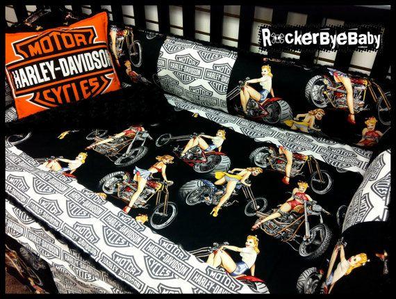 CUSTOM Motorcycle biker baby 4 piece MIXED PRINTS crib bedding set fabric  pinup girl bikes flames
