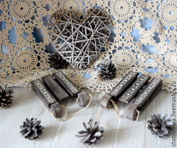Купить Интерьеные новогодние санки - коричневый, новогодний декор, новогодний интерьер, новогоднее украшение