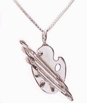 Silver Paint Palette Charm Necklace