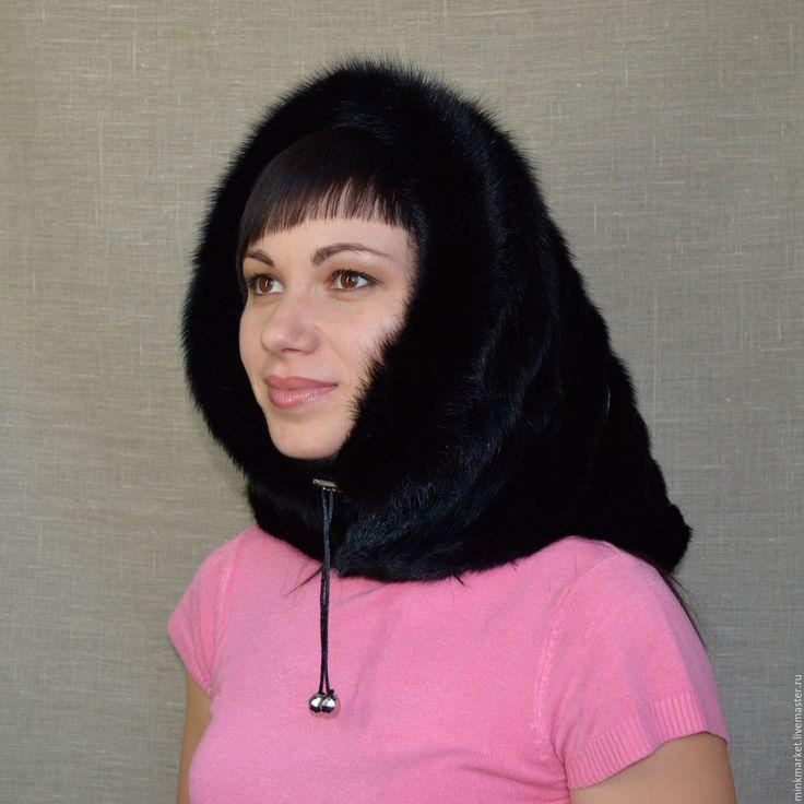 Купить Меховой капюшон Хит сезона! - черный, капюшон, натуральный мех, мех норки