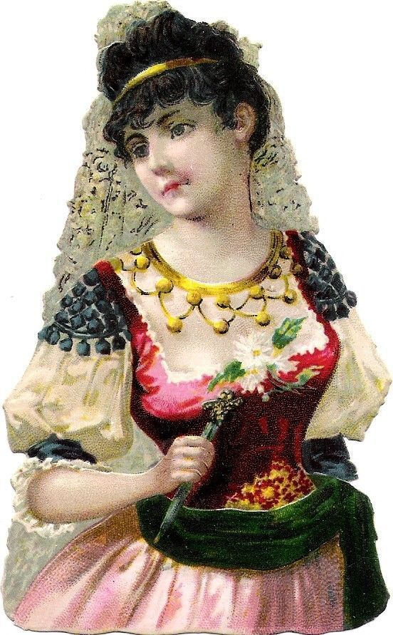 Oblaten Glanzbild scrap die cut chromo Lady Dame femme  national costume