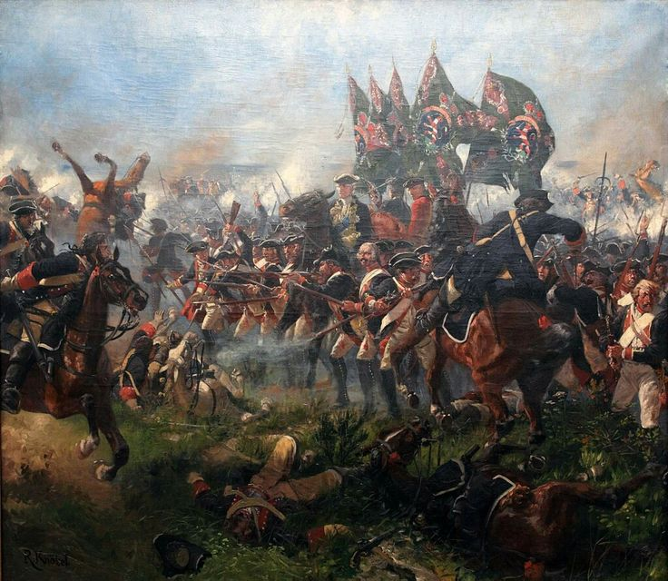 Hessian Regiment von Prinz Karl at the Battle of Krefeld 1758 painting by Knotel