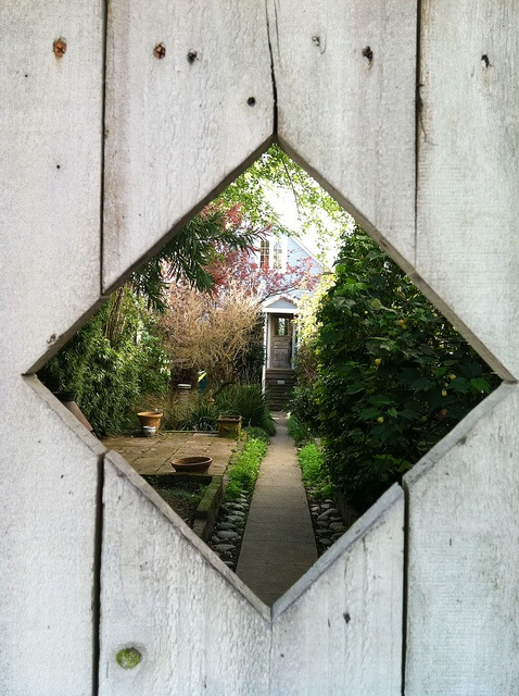 Through the........diamond window!  Oh yes!  Something like this embedded in the wooden gate / door would give people an inside peek at the solitude hidden behind the door...but ONLY if the seeker was looking.
