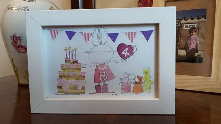 #Piki #Birthday #watercolors #washi #tape #pencil #rabbit #cake #illustration