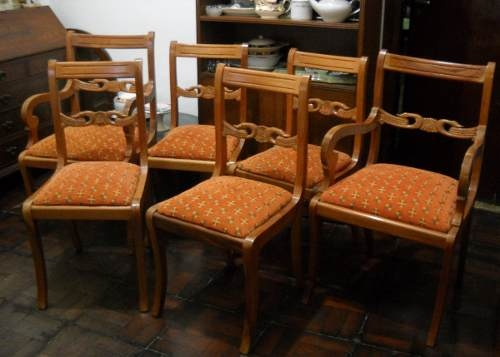 Juego de sillas estilo ingles sheraton living comedor for Estilos de sillas para comedor