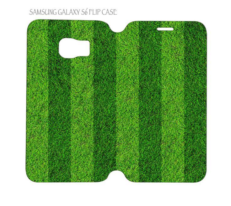 Samsung Galaxy S6 G920 Folio Flip Case Cover Green Grass Football Soccer Field #QuinnCafe
