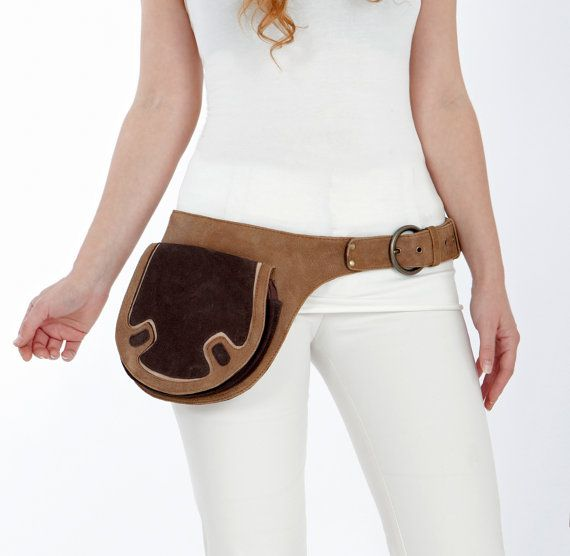 Brown tan leather belt bag leather pouch bags by Shovavaleather, $126.00