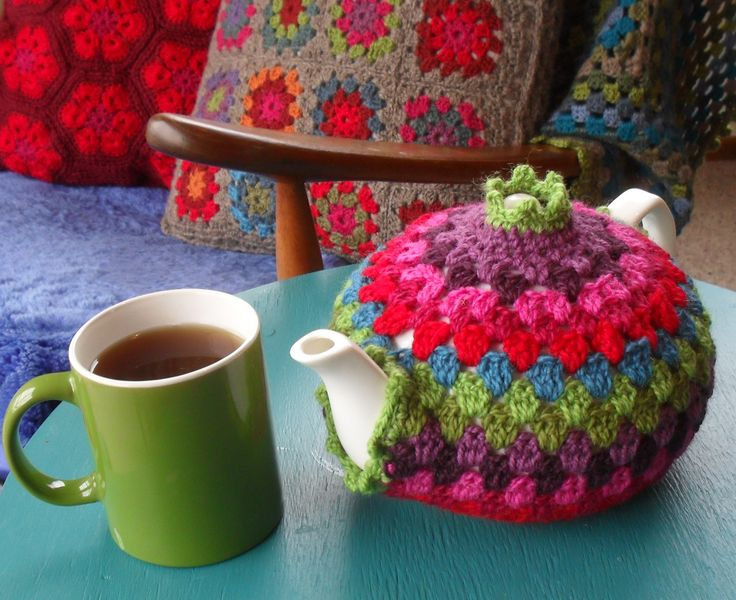 We love these colours-try Robin DK online from www.the-stitchery.co.uk   Granny Tea Cozy Free Tutorial and pattern on Crochet with Raymond at http://crochethealingandraymond.wordpress.com/2010/11/16/granny-tea-cozy-tutorial-hurray/