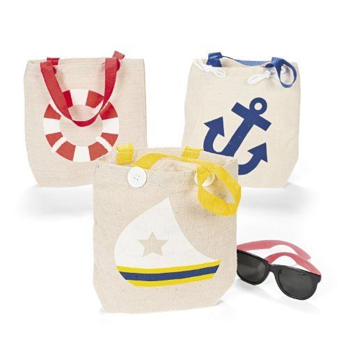 "Natural Canvas Nautical Tote Bags (1 dz). 8"" x 8 1/2"" with 5 1/2"" nylon handles. 12 Nautical Tote Bags. Great for beach parties."