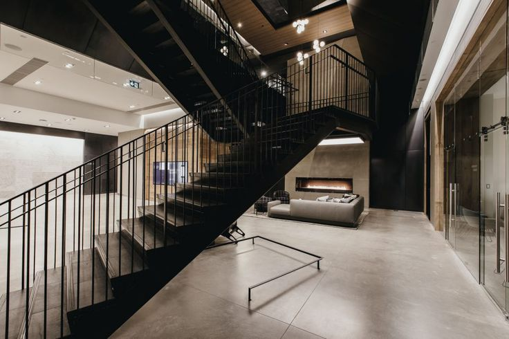 Lobby with black metal staircase