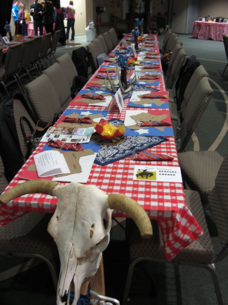 Western table decorations for Cub Scout Blue & Gold Banquet