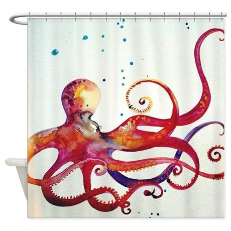 Octopus Watercolor Shower Curtain on CafePress.com