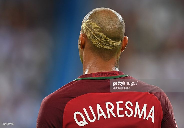 Ricardo Quaresma of Portugal is seen with his haircut with a design shaved into it during the UEFA EURO 2016 Final match between Portugal…