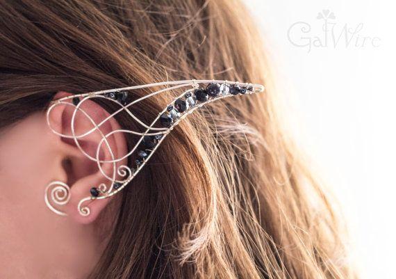 Oreille celtique poignets paire de poignets de l'oreille elfique poignets de l'oreille fantaisie poignets d'oreille en argent noir de Elf oreilles oreille fée poignets fil enroulé un motif celtique
