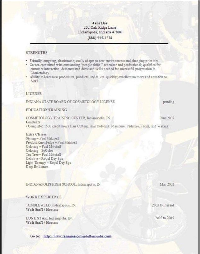 85 best resume template images on Pinterest Resume templates - cosmetologist resume sample