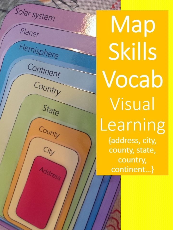 Help visual & kinesthetic learners learn mapping vocab with a stackable puzzle activity! Students stack the cards in order from largest to smallest area. Self-checking center.  Includes: Address, city, county, state, country, continent, hemisphere, planet, solar system    #Teachering
