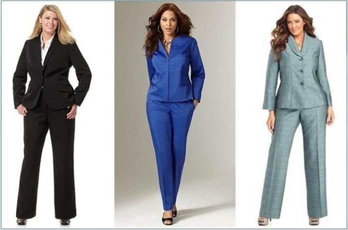 Модели деловых брючных костюмов на полных женщин