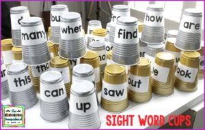 Make sight word cups for an easy, engaging STEM sight word activity!  Click the image to get your free labels!
