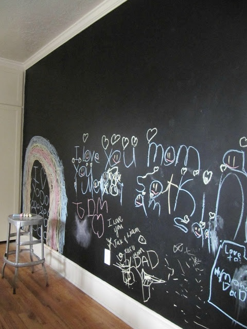 A chalkboard wall is a great way to encourage creativity as well as keeping them entertained