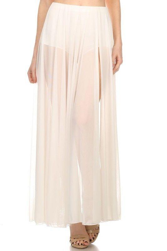 White Sheer Maxi Skirt