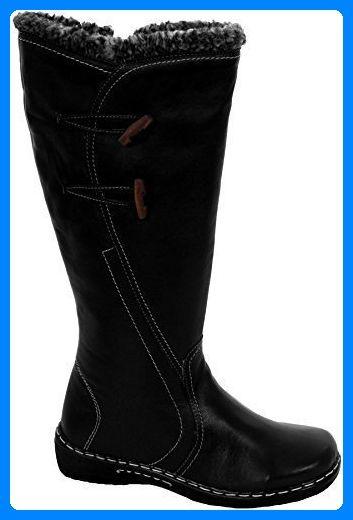 SAPHIR Damen Seite Knebelknöpfe Echtleder Rand Kunstpelz Damen Wadenhoch Schuhe Stiefel - Damen, Schwarz, 7 UK / 40 EU - Stiefel für frauen (*Partner-Link)
