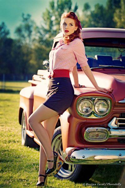 pin up girl, redhead. Truck's nice too.