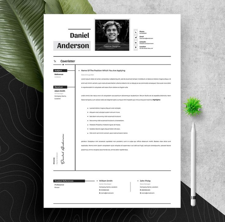 Professional clean resume cv template with ms word apple