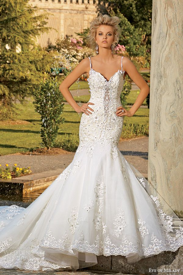 eve of milady fall 2014 2015 intricate mermaid wedding dress straps style 1539