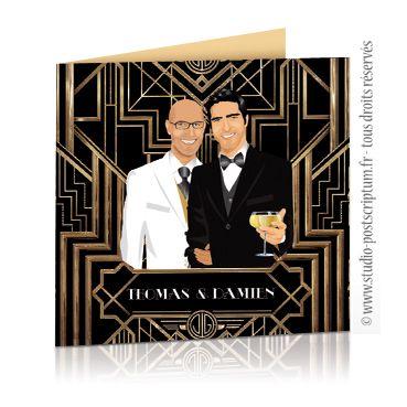 Faire-part de mariage original gay et lesbien – Cinéma affiche film Gatsby années folles 20's. Gay and Lesbian Wedding save the date - invitation card.