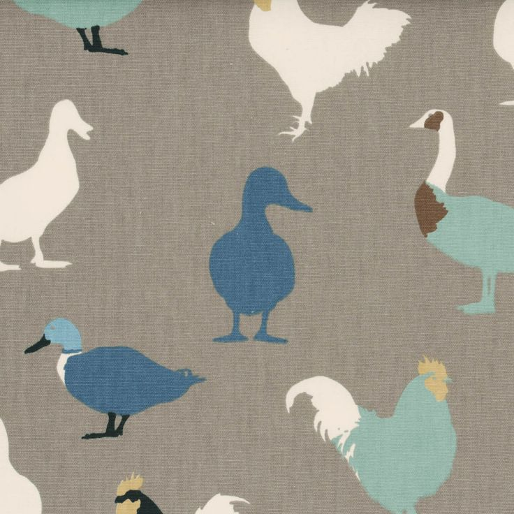 Denim Cock-A-Leekie Curtain Fabric   Grey and Blue   Cheap UK Delivery