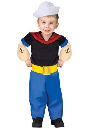 Turn your child into a real cartoon with this Popeye the Sailor Man toddler costume! The funny costume for boys will have him ready to eat his spinach.