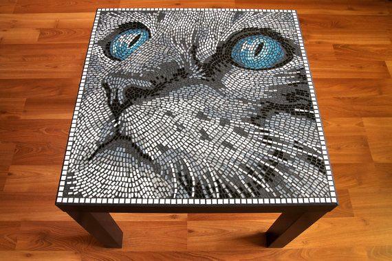Table de mosaïque chat ou mur photo par BlueCatMosaic sur Etsy