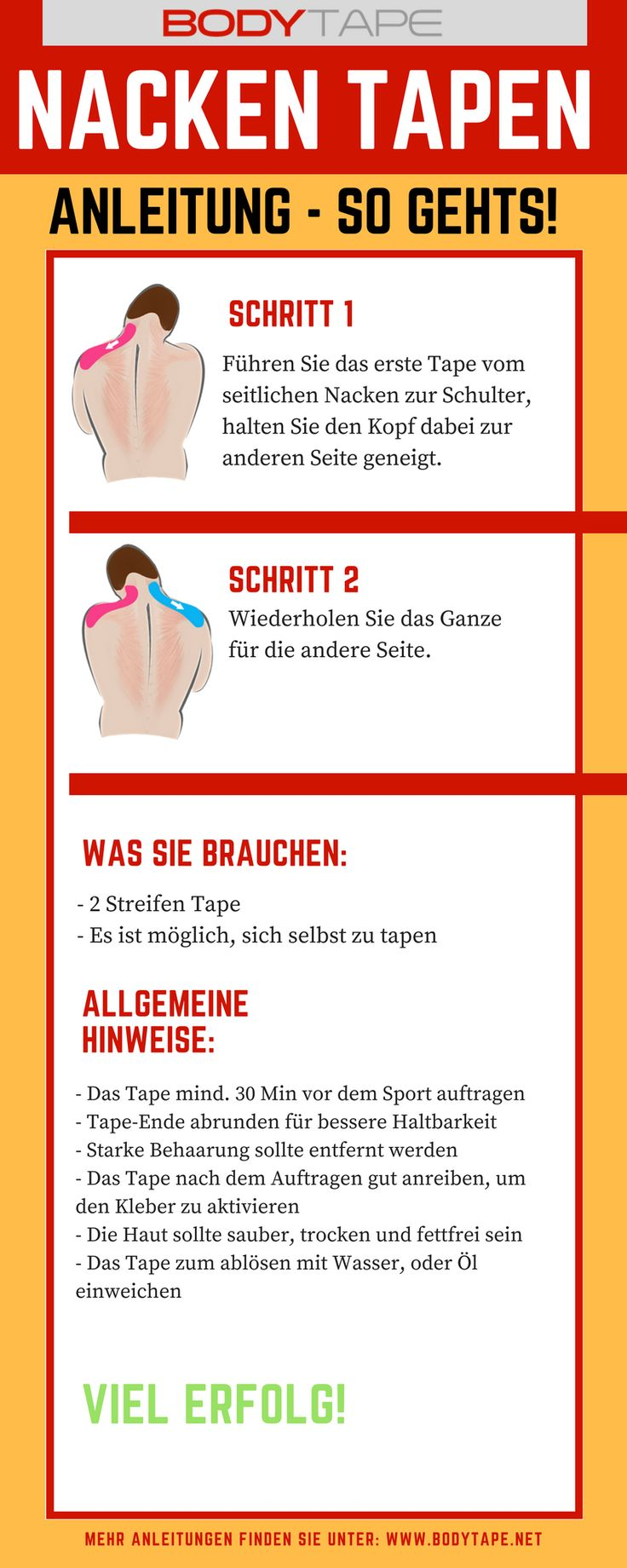 Nacken Tapen Anleitung - Kinesiologie Tape Anleitung zum Tapen vom Nacken. Mehr Anleitungen unter: www.taping-guide.com